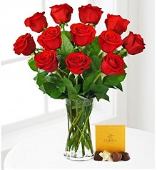 Flower Bouquets: Red Rose Bouquet with Godiva® Chocolates