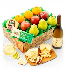 Fruit Baskets: Fresh Fruit Trio, Cheese & Wine